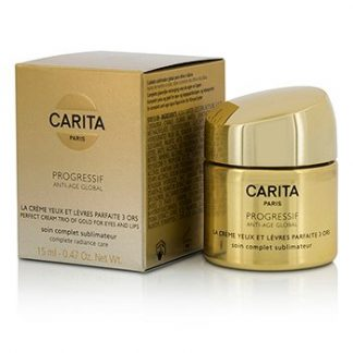 CARITA PROGRESSIF ANTI-AGE GLOBAL PERFECT CREAM TRIO OF GOLD FOR EYES & LIPS  15ML/0.47OZ