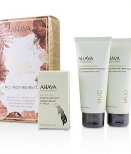 AHAVA ELEMENTS OF LOVE MUD-RICH MOMENTS GIFT SET: HAND CREAM 100ML + FOOT CREAM 100ML + PURIFYING MUD SOAP 100G  3PCS