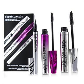 BAREMINERALS LASH DOMINATION VOLUMIZING MASCARA & INK LINER TRIO (2X MASCARA, 1X EYELINER)  3PCS