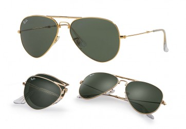 RAYBAN AVIATOR FOLDING SUNGLASSES RB3479 001 GOLD GREEN CLASSIC G5 58MM 