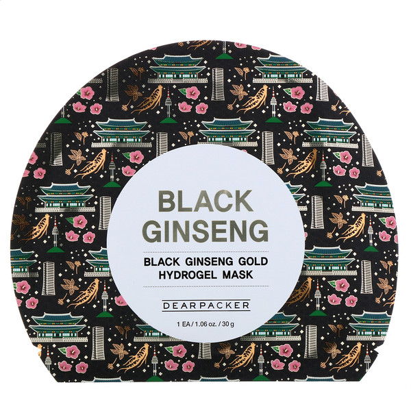 Dear Packer, Black Ginseng, Black Ginseng Gold Hydrogel Mask, 1 Sheet, 1.06 oz (30 g)