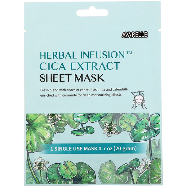 Avarelle, Herbal Infusion, Cica Extract Sheet Mask, 1 Sheet,0.7 oz (20 g)