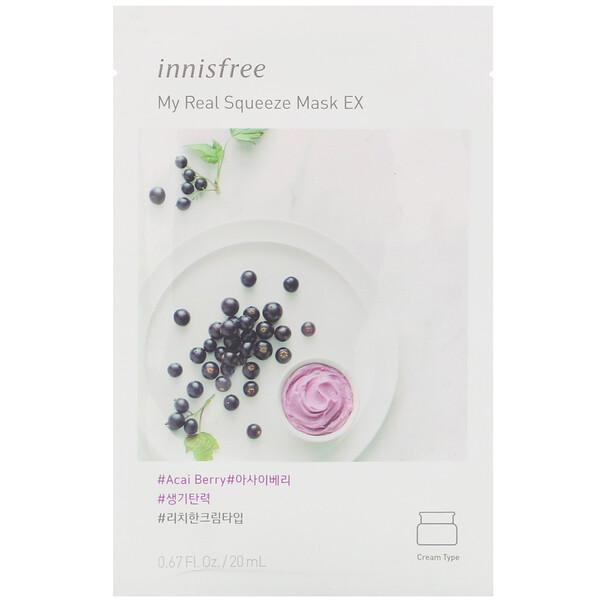 Innisfree, My Real Squeeze Mask EX, Acai Berry, 1 Sheet, 0.67 fl oz (20 ml)