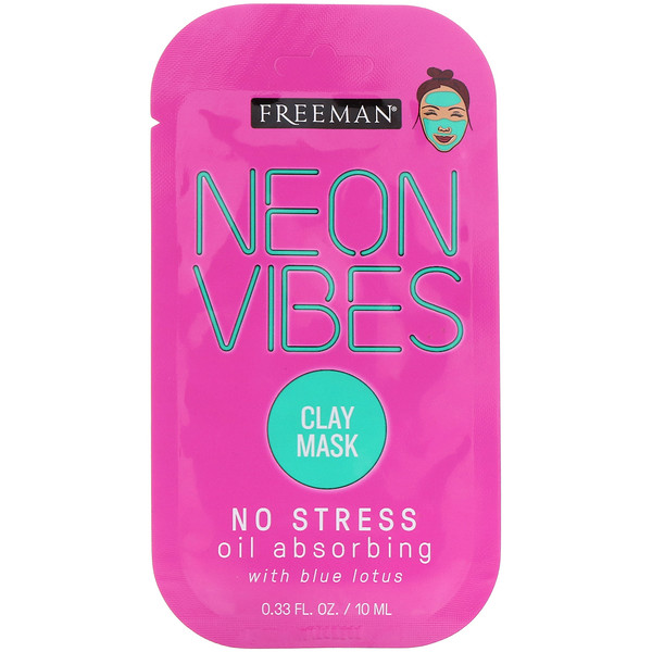 Freeman Beauty, Neon Vibes, No Stress, Oil Absorbing Clay Mask, 0.33 fl oz (10 ml)