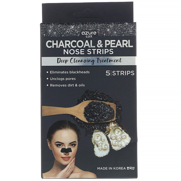Azure Kosmetics, Charcoal & Pearl, Nose Strips, Deep Cleansing Treatment, 5 Strips