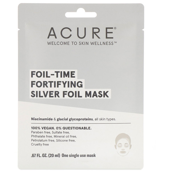 Acure, Foil-Time Fortifying Silver Foil Mask, 1 Single Use Mask, 0.67 fl oz (20 ml)