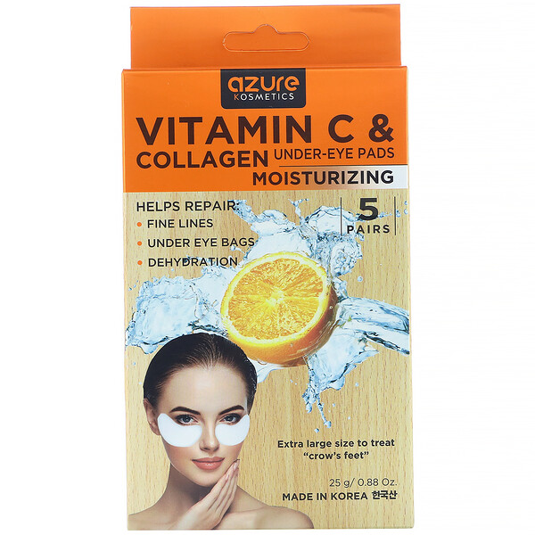 Azure Kosmetics, Vitamin C & Collagen, Under-Eye Pads, Moisturizing, 5 Pairs