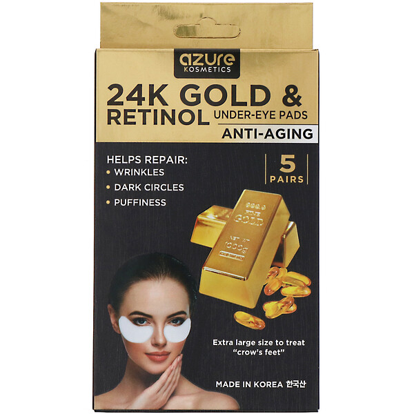 Azure Kosmetics, 24K Gold & Retinol, Under-Eye Pads, Anti-Aging, 5 Pairs