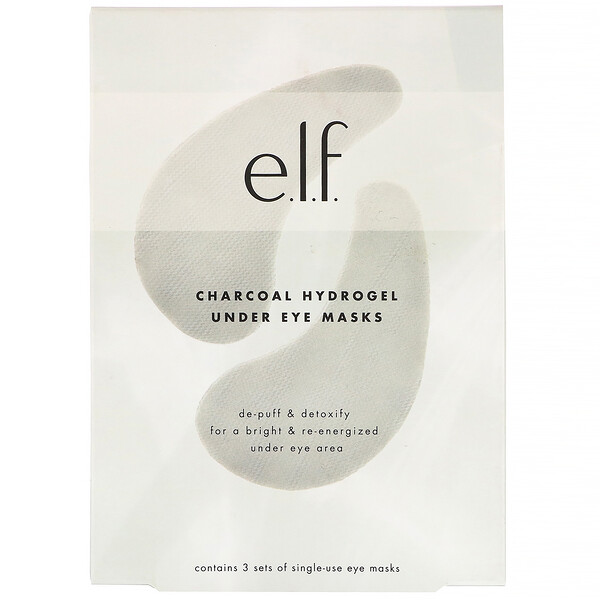 E.L.F., Charcoal Hydrogel Under Eye Masks, 3 Piece Set