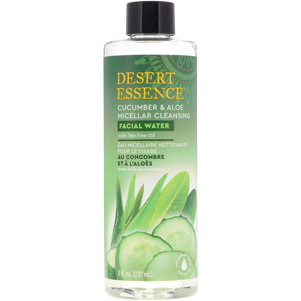 Desert Essence, Micellar Cleansing Facial Water, Cucumber & Aloe, 8 fl oz (237 ml)