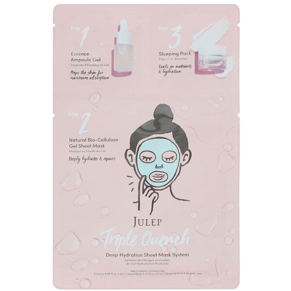 Julep, Triple Quench, Deep Hydration Sheet Mask System, 1 Set