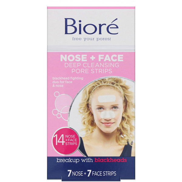 Biore, Deep Cleansing Pore Strips Combo Pack, Nose + Face, 14 Strips