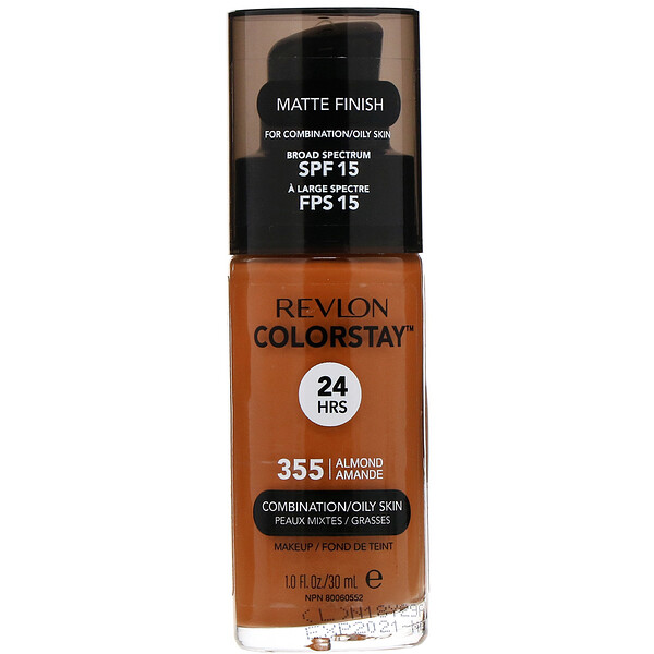 Revlon, Colorstay, Makeup, Combination/Oily, 355 Almond, 1 fl oz (30 ml)