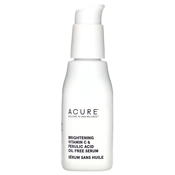 Acure, Brightening Vitamin C & Ferulic Acid Oil Free Serum, 1 fl oz (30 ml)