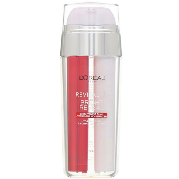 L'Oreal, Revitalift Bright Reveal, Brightening Dual Overnight Moisturizer, 1 fl oz (30 ml)