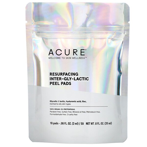 Acure, Resurfacing Inter-Gly-Lactic Peel Pads, 10 Pads, .06 fl. oz (2 ml) Each