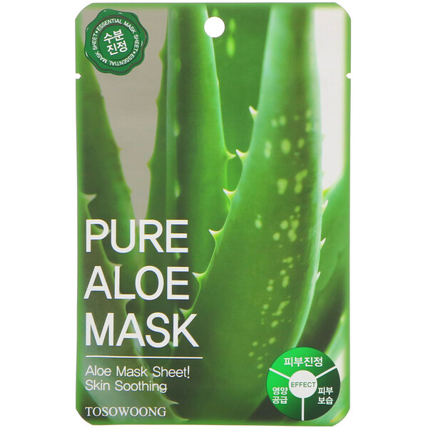 Tosowoong, Pure Aloe Mask, 10 Sheets, 23 g Each