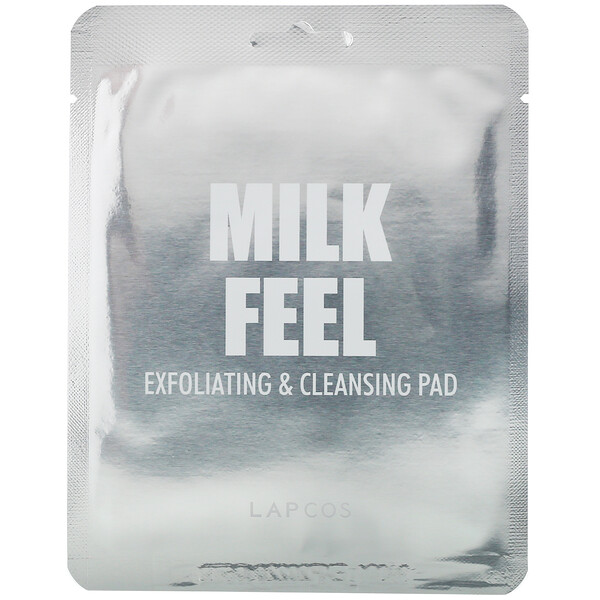 Lapcos, Milk Feel, Exfoliating & Cleansing Pad, 5 Pads, 0.24 oz (7 g) Each