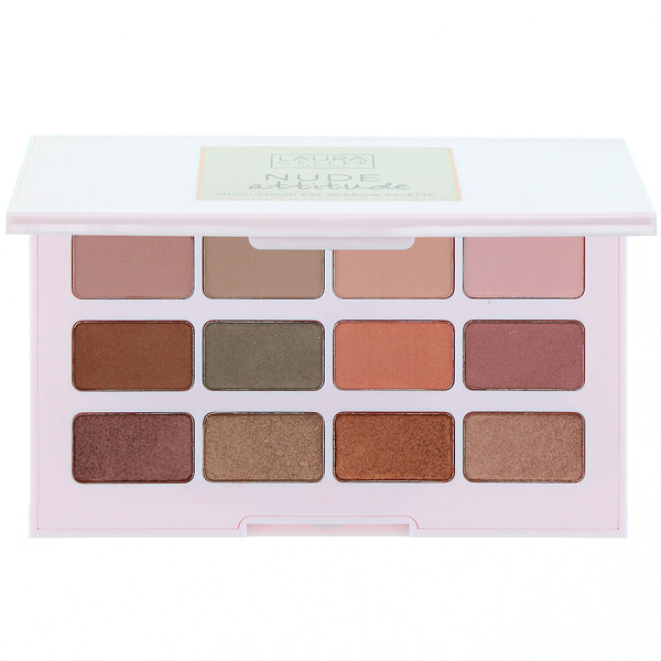 Laura Geller, Nude Attitude, Multi-Finish Eyeshadow Palette, 12 Eyeshadows