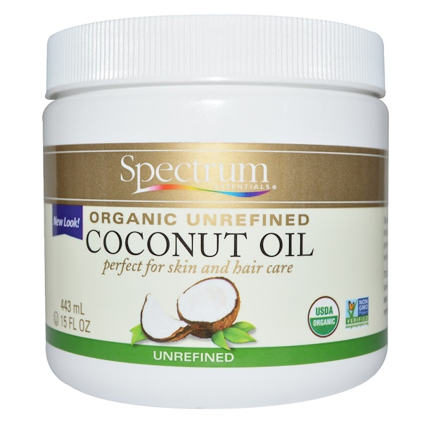 Spectrum Essentials, Organic Unrefined Coconut Oil, 15 fl oz (443 ml)