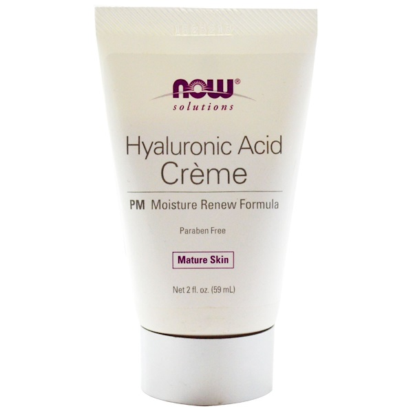 Now Foods, Solutions, Hyaluronic Acid Creme, PM Moisture Renew Formula, 2 fl oz (59 ml)