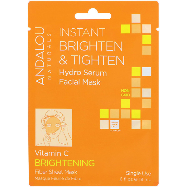 Andalou Naturals, Instant Brighten & Tighten, Hydro Serum Facial Mask, Brightening, 1 Single Use Fiber Sheet Mask, .6 fl oz (18 ml)