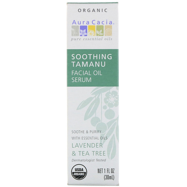 Aura Cacia, Organic Soothing Tamanu Facial Oil Serum, Lavender & Tea Tree, 1 fl oz (30 ml)