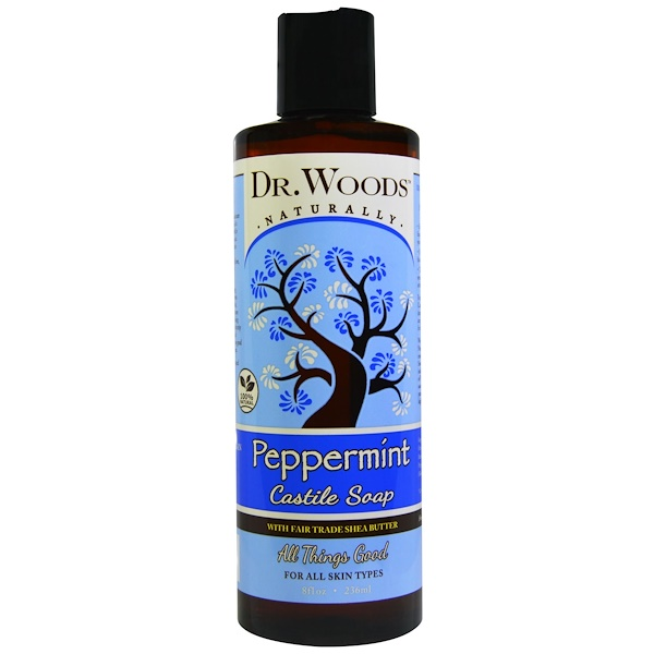 Dr. Woods, Peppermint Castile Soap with Fair Trade Shea Butter, 8 fl oz (236 ml)