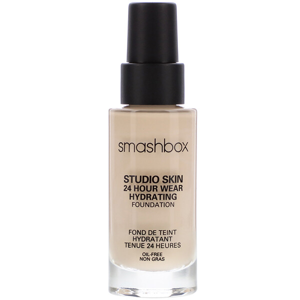Smashbox, Studio Skin 24 Hour Wear Hydrating Foundation, 0.3 Fair with Neutral Undertone, 1 fl oz (30 ml)